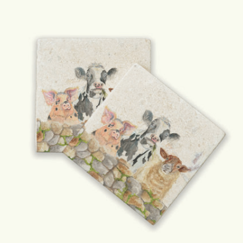 Kate of Kensington Farmyard marble coasters, pig, cow and sheep design at Source for the Goose