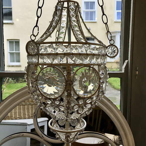 Vintage French Glass Hanging Lamp with faceted glass, unique interiors at Source for the Goose, Devon