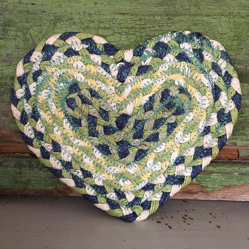 Mint Green Heart Shaped Coaster made by the Braided Rug Company. to buy in Devon