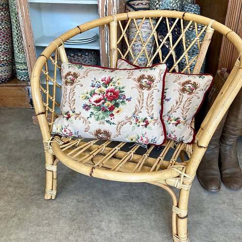Low wicker tub chair, secondhand and vintage furniture at Source for the Goose, Devon