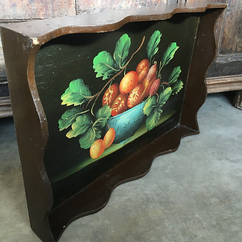 Vintage Handpainted Tray with central fruit in bowl design in original chippy finish