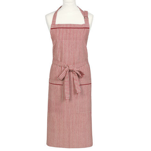 Red and linen striped County Ticking Apron Dorset Red, rustic homewares at Source for the Goose, Devon