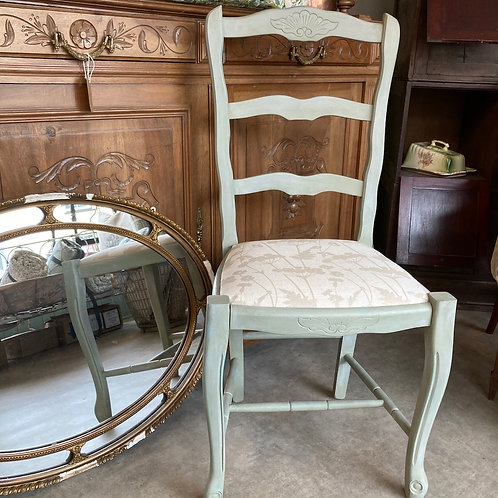 Annie Sloan Chalk Painted French Style Chair in a green duck egg colour way, interiors at Source for the Goose