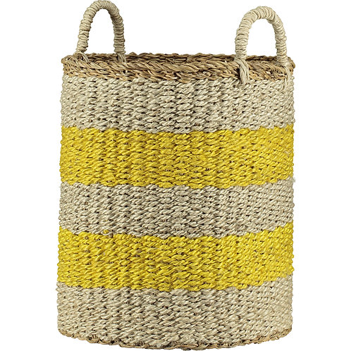 Daffodil Yellow and Natural Stripe Organic Jute Laundry Basket, homewares at Source for the Goose, Devon
