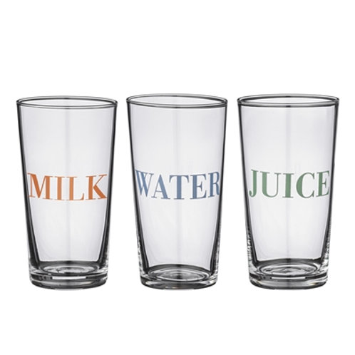 Milk, Water and Juice Glasses