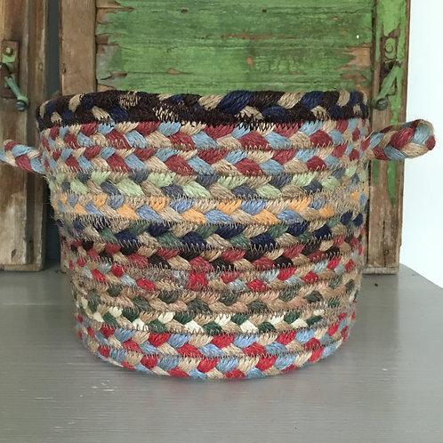 Colourway Misty Blue Organic Jute Braided Rug basket to buy in Devon