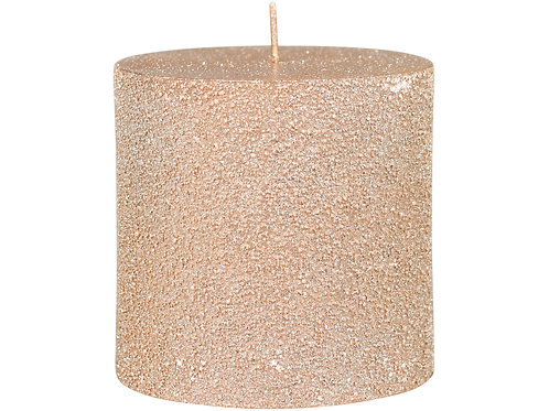 Dusky pink candle with lightly shimmering glitter finish at Source for the Goose