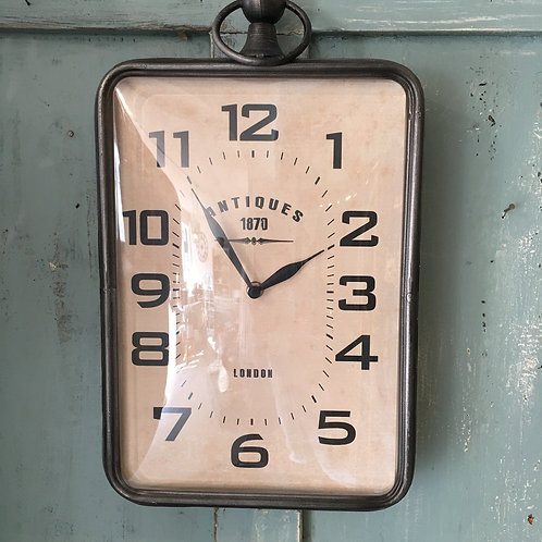 Rectangular wall clock with convex front, shabby chic homewares at Source for the Goose