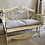 French Style Metal Bench with  Grey Seat Cushions, second-hand furniture at Source for the Goose