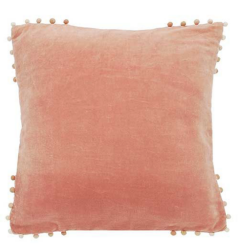 Delicate Pink Velvet Cushion with Pom Pom Edging, Waltons of Yorkshire interiors at Source for the Goose