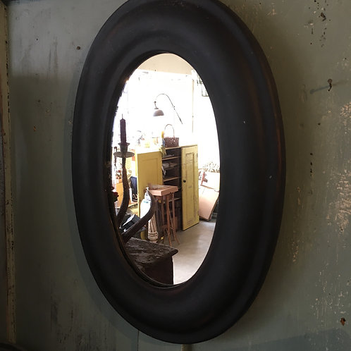 Black Framed Oval Mirror painted in Annie Sloan Athenian Black, unique interiors at Source for the Goose, Devon