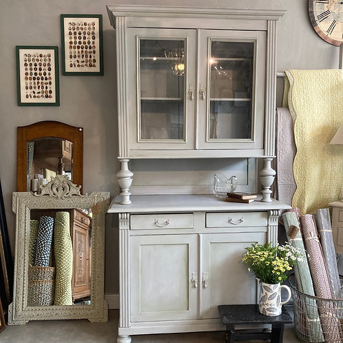 Grey Painted French Glazed Dresser, Annie Sloan Chalk Painted Secondhand furniture at Source for the Goose, Devon