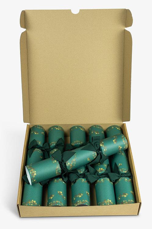 Little Green Cracker Company Classic Green Sophisticat Christmas Crackers, eco friendly Christmas crackers