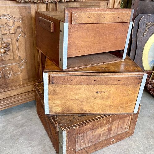 Vintage Wooden Three Tier Wedding Cake Storage boxes