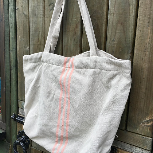 Weaver Green Maxime Linen and Coral Beach Bag, made from recycled plastic bottles, at Source for the Goose, Devon