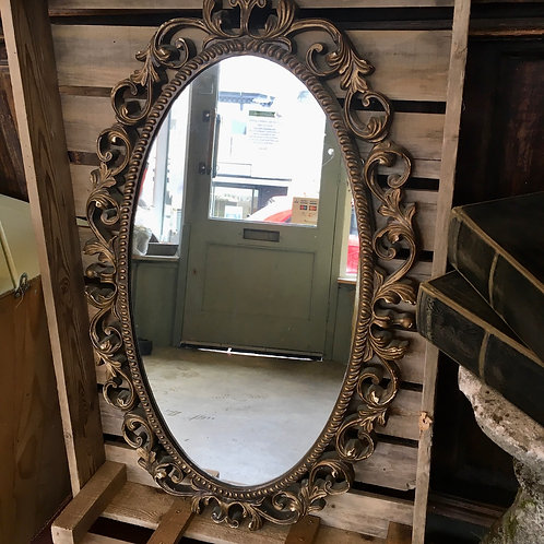 Vintage Gilt Framed Oval Mirror  with decorative frame, interiors at Source for the Goose, South Molton, Devon