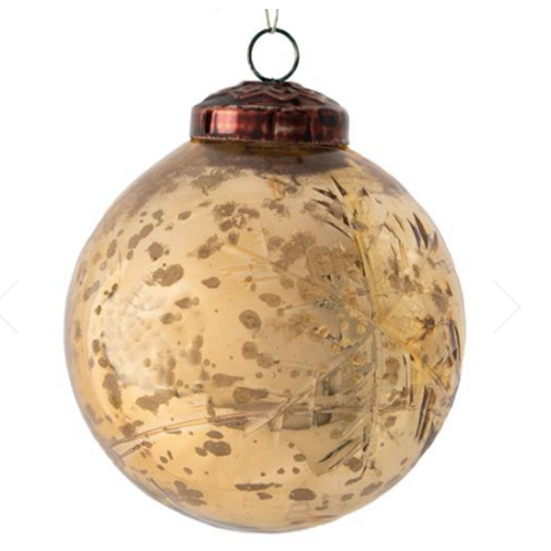 Gold Etched Large Christmas Bauble to buy from vintage style Christmas interiors at Source for the Goose, Devon