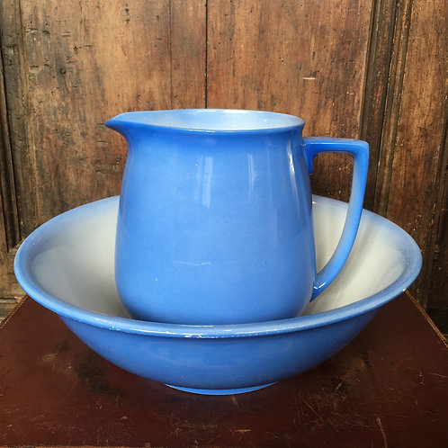 Vintage Blue and White Jug and Bowl set, unique interiors at Source for the Goose, Devon