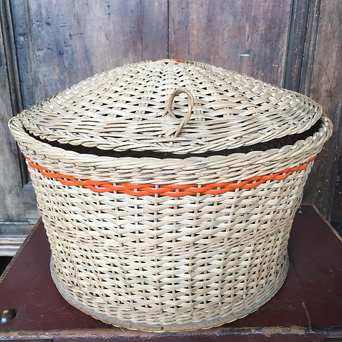 Vintage Whicker Sewing Basket, round with orange trim, interiors at Source for the Goose, Devon