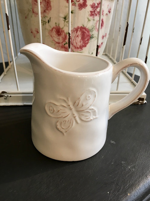 Pretty Shabby Chic White Gisela Graham Milk Jug with Butterfly Design at Source for the Goose