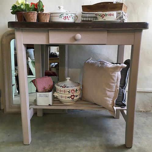 Kitchen Island in Plaster Pink Colourway with Wooden Top, interiors at Source for the Goose