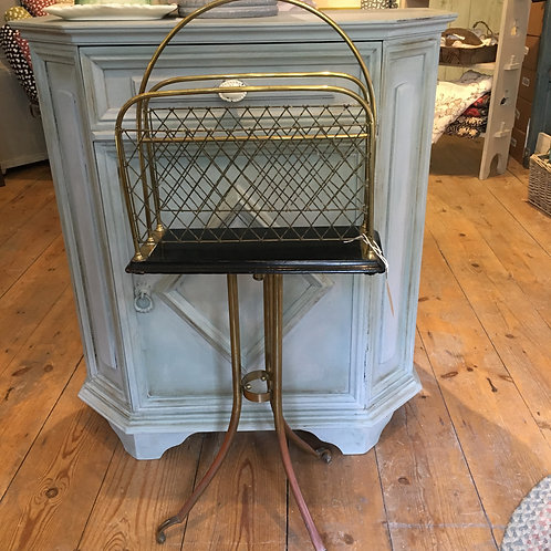 Brass 1930s swivel book/magazine rack, vintage interiors at Source for the Goose
