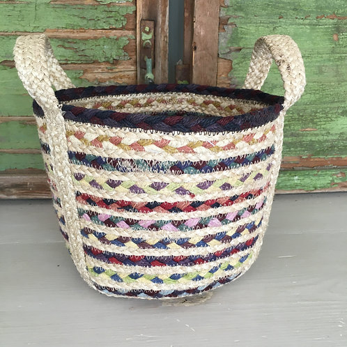 Fairisle Braided Rug basket, shabby chic style in Devon