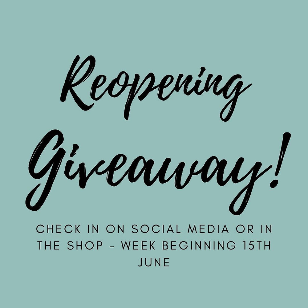 Check in on social media or in the shop for some Giveaways week beginning 15th June 2020