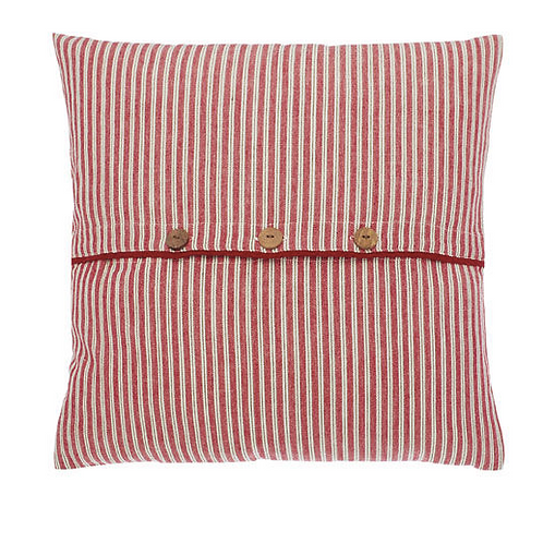 Red and linen coloured striped County Ticking Cushion in Dorset Red, unique interiors at Source for the Goose, Devon