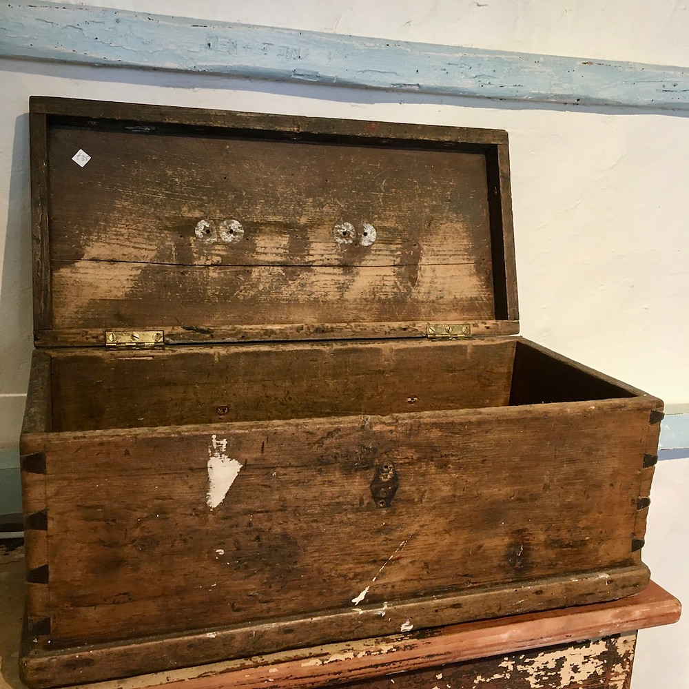 A Fabulous Vintage Tool Box with Dovetailed joints and original stain and paint