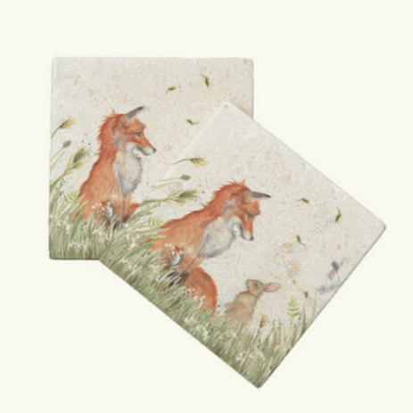 Kate of Kensington fox and rabbit marble coasters, British designs at Source for the Goose