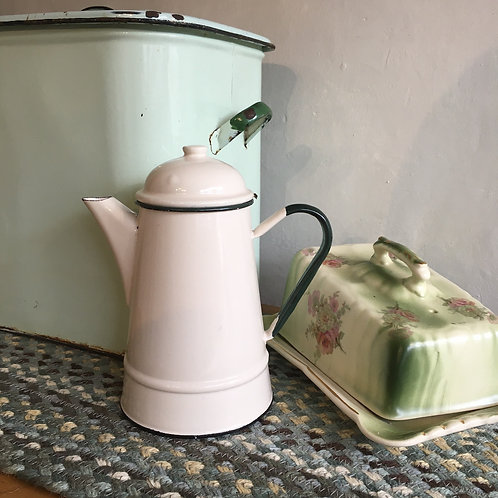 Vintage Enamel Coffee Pot in cream and green, vintage enamel homewares at Source for the Goose, Devon