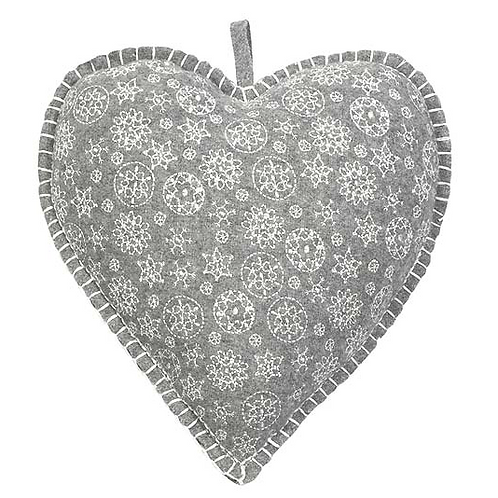 Large Grey felted heart with cross stitch design, Christmas nordic themed interiors at Source for the Goose, Devon