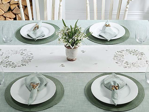 Wreath design table centre runner in greys, greens and white, Waltons of Yorkshire at Source for the Goose, Devon