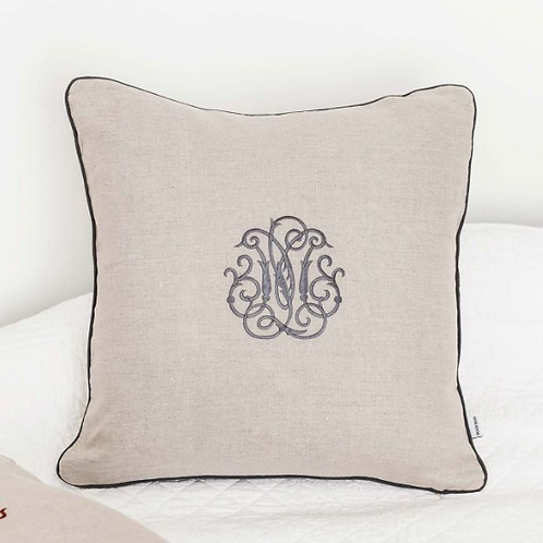 French Style Linen Monogram Cushion, lifestyle and interiors at Source for the Goose, Devon