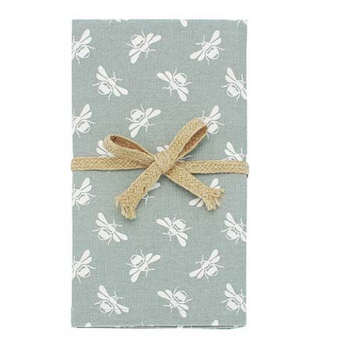 Set of four moss green bee design napkins, vintage style homewares at Source for the Goose