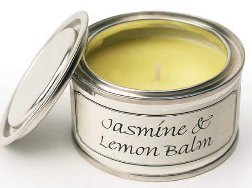 Jasmine and lemon balm scented candle, paint pot style from Pintail at interiors at Source for the Goose
