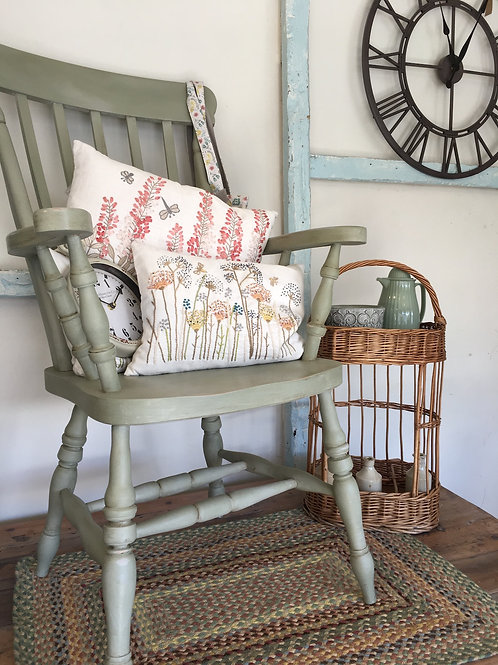 Carver Chair painted in Annie Sloan mix of Chateau Grey blended with Paris Grey at Source for the Goose