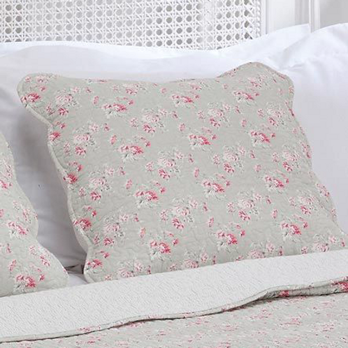 Quilted Square Cushion, rose print on grey background, striped back, Isla at Waltons of Yorkshire at Source for the Goose