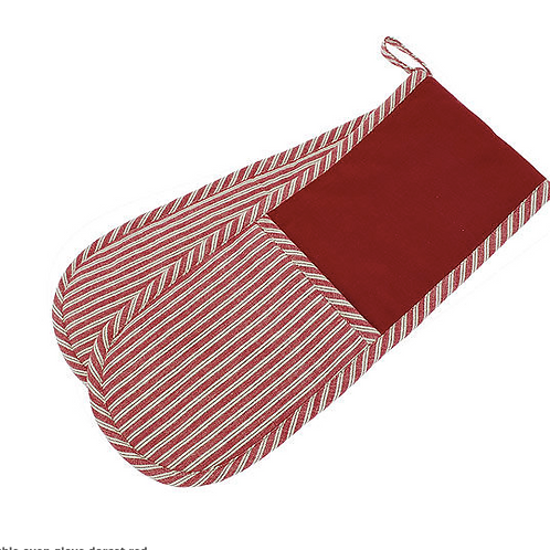 County Ticking Double Oven Glove in Dorset Red, rustic homewares at Source for the Goose, South Molton, Devon