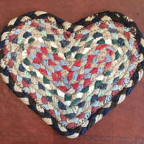 Misty Blue colour way braided rug heart shaped coaster, country style interiors at Source for the Goose