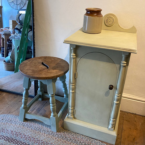 Charming oak stool with green painted legs at Source for the Goose, Devon
