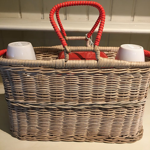 1950s Picnic Basket and contents of two flasks, tin with cups, glass and bottle, vintage interiors at Source for the Goose
