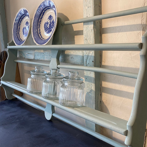 Pretty Blue Painted Ercol Plate Rack, vintage interiors at Source for the Goose, Devon