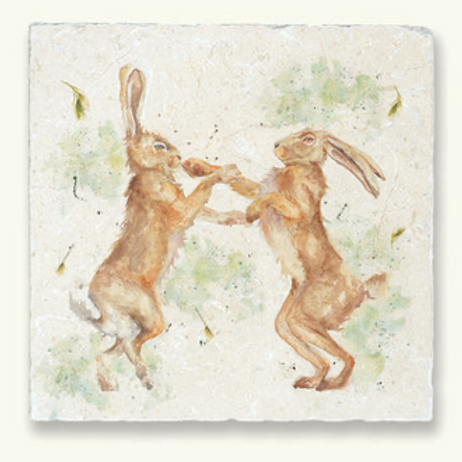 Kate of Kensington Boxing Hares Marble Trivet, British made homewares at Source for the Goose, South Molton, Devon