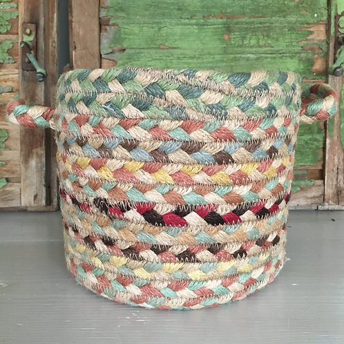 Muted multicoloured Pampas colour way Braided Rug basket at Source for the Goose