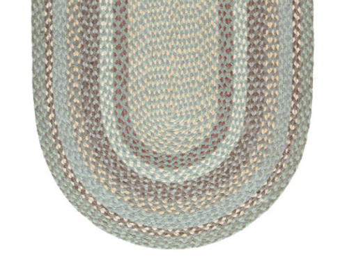 Dreamy Seaspray colour way oval Braided Rug, organic  jute, Country style interiors at Source for the Goose, Devon