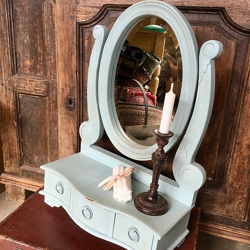 Pretty Vintage Blue Swing Mirror painted in Annie Sloan Svenska Blue and lightly distressed, to buy at Source for the Goose
