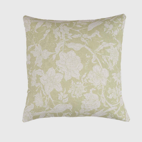 Flowers and Birds Cushion in Chartreuse Green, Biggie Best homewares at Source for the Goose, South Molton