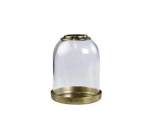 Glass Bell Jar Candleholder with brass base, interiors from Chic Antique at Source for the Goose, Devon